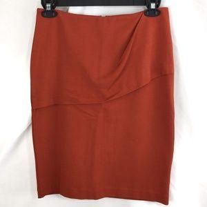 CAbi Overlay Pencil Skirt Turmeric Orange Sz 6